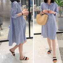 Dress Pregnani Blue and white stripes M L XL Korean version Short sleeve have more cash than can be accounted for summer stand collar Pure cotton (95% and above) OP81