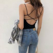 Vest sling Summer 2020 Gray, white, red, black Average size singleton  have cash less than that is registered in the accounts Self cultivation Versatile camisole Solid color 18-24 years old 91% (inclusive) - 95% (inclusive) cotton backless