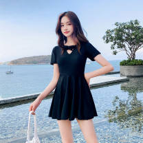 Split swimsuit Huan yuan 2018 steel tray black printing, 2006 black (high grade toilet version) M (80-95 kg), l (95-105 kg), XL (105-120 kg) No chest pad female