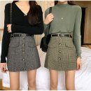 skirt Spring 2020 S,M,L Black, brown, green Short skirt Sweet High waist A-line skirt 18-24 years old other cotton