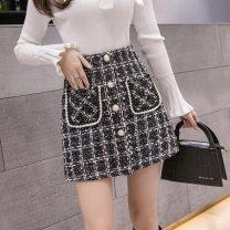 skirt Spring 2020 S,M,L,XL Black, apricot Short skirt Sweet High waist A-line skirt lattice 18-24 years old other cotton