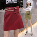 skirt Autumn 2020 S,M,L,XL Black, Burgundy, apricot, green Short skirt Sweet skirt Solid color Type A 937#