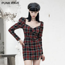 Dress Winter 2020 Red and black S,M,L Short skirt singleton  Long sleeves street V-neck High waist lattice Socket A-line skirt routine Others 25-29 years old Type A PUNK RAVE Splicing PQ-960LQ 51% (inclusive) - 70% (inclusive) polyester fiber Punk