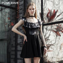 Dress Summer 2021 Black grey, black red XS,S,M,L,XL Short skirt singleton  Sleeveless street Lotus leaf collar High waist A-line skirt routine camisole 18-24 years old Type A PUNK RAVE PQ-1075 More than 95% nylon Europe and America