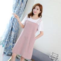 Dress Power season Light grey red M L XL XXL Korean version Short sleeve Medium length summer Crew neck stripe cotton