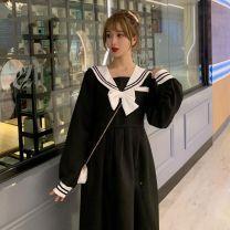 Dress Spring 2021 black S,M,L,XL,2XL Mid length dress singleton  Long sleeves routine Splicing