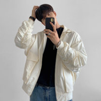 Jacket Mrcyc Youth fashion Off white, grey, black M. L, XL, 2XL, reference: model height 177 weight 120 try on L routine easy Other leisure spring Long sleeves Wear out Lapel tide teenagers routine Single breasted 2021 Rib hem No iron treatment Closing sleeve Solid color More than two bags) cotton