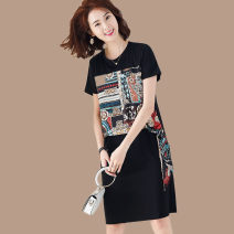 Women's large Summer 2020 Black (short sleeve) Large XL, large L, m, 2XL, 3XL, 4XL Dress singleton  commute easy moderate Socket Short sleeve Hand painted Korean version Crew neck cotton Three dimensional cutting routine Other / other 35-39 years old 81% (inclusive) - 90% (inclusive) Medium length