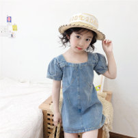 Dress blue female Other / other 80cm,90cm,100cm,110cm,120cm,130cm,140cm Other 100% summer Korean version Short sleeve Solid color other A-line skirt X55300 2 years old, 3 years old, 4 years old, 5 years old, 6 years old, 7 years old Chinese Mainland
