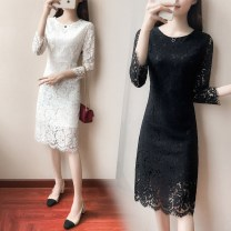Dress Spring of 2019 Black red white black [Plush version] S M L XL XXL XXXL XS Mid length dress singleton  Nine point sleeve commute Crew neck middle-waisted Solid color zipper One pace skirt routine Others 25-29 years old Type H Kayichi Korean version Cut out zipper lace Lace nylon