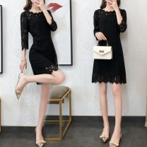 Dress Spring 2020 black S M L XL XXL 3XL Middle-skirt singleton  elbow sleeve commute Crew neck middle-waisted Solid color zipper A-line skirt routine Others 25-29 years old Type A Kayichi Korean version Fringed cut out lace 218 short tricolor 31% (inclusive) - 50% (inclusive) Lace nylon