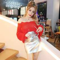 Dress Winter of 2018 Red, white S,M,L Short skirt Two piece set Long sleeves commute One word collar High waist Solid color Socket One pace skirt routine Others 18-24 years old Type A Other / other Korean version backless G59861# More than 95% knitting polyester fiber