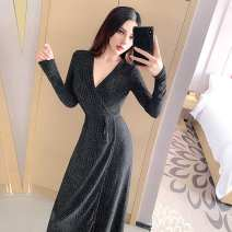 Dress Winter of 2018 black Average size Short skirt singleton  Long sleeves commute V-neck High waist Solid color Socket One pace skirt routine Others 18-24 years old Type H Other / other Korean version G50153# More than 95% other polyester fiber