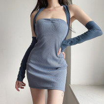 Dress Summer 2021 blue S, M Short skirt singleton  High waist Solid color Socket Princess Dress Hanging neck style 18-24 years old Type H TUVCD12516 31% (inclusive) - 50% (inclusive) cotton