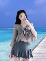 Bikini Other Blue, yellow, pink M,L,XL Skirt bikini Steel strap breast pad polyester fiber
