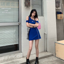 Dress Summer 2021 Short skirt Condom Short sleeve routine commute singleton  A-line skirt V-neck High waist Detachable sleeve cotton Korean version 31% (inclusive) - 50% (inclusive) 18-24 years old knitting Type X XS,S,M,L,XL