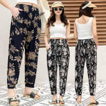 Middle aged and old women's wear Summer of 2019 Average size leisure time trousers easy singleton  Flower and bird pattern ultrathin 5nk pocket polyester 96% and above