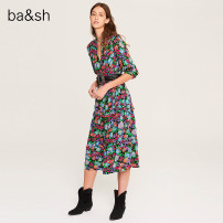 Dress Spring 2020 NOIR 0 2 3 1 longuette singleton  three quarter sleeve commute V-neck High waist Broken flowers Socket other routine 25-29 years old ba&sh lady More than 95% other Viscose (viscose) 98% others 2% Same model in shopping mall (sold online and offline)
