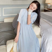 Dress Summer 2020 Blue, black XXS,XS,S,M Mid length dress singleton  elbow sleeve commute Crew neck middle-waisted Solid color Socket Princess Dress routine straps 25-29 years old Type A Co&sheng Korean version 91% (inclusive) - 95% (inclusive) Chiffon polyester fiber