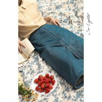 skirt Spring 2020 S. M, l, s (presale), m (presale), l (presale) Retro denim Mid length dress Retro High waist A-line skirt Solid color Type A More than 95% Denim solighter cotton