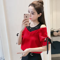 Lace / Chiffon Summer of 2019 Red, black, white S,M,L,XL,2XL Short sleeve commute Socket Two piece set Straight cylinder Regular Crew neck routine Bowknot, lace, mesh Korean version