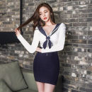 Dress Autumn 2020 blue S,M,L,XL Short skirt singleton  Long sleeves commute V-neck middle-waisted Solid color Socket One pace skirt Type H Korean version