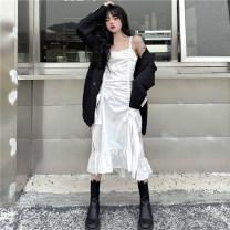 Women's large Summer 2021 S [80-90 Jin], m [90-100 Jin], l [100-120 Jin], XL [120-135 Jin], 2XL [135-150 Jin], 3XL [150-165 Jin], 4XL [165-180 Jin] Dress singleton  commute easy thin Socket Sleeveless Korean version Medium length Three dimensional cutting 18-24 years old Bandage Medium length