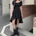 Dress Summer 2021 black M [90-100 Jin], l [100-120 Jin], XL [120-135 Jin], 2XL [135-150 Jin], 3XL [150-165 Jin], 4XL [165-180 Jin] Mid length dress Short sleeve commute square neck Solid color Irregular skirt puff sleeve Type A Korean version Asymmetry