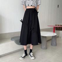 skirt Summer 2021 L [100-120 Jin], XL [120-135 Jin], 2XL [135-150 Jin], 3XL [150-165 Jin], 4XL [165-180 Jin] black Mid length dress commute High waist A-line skirt Solid color Type A bow Korean version