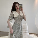 Dress Summer 2021 Floral skirt L [100-120 Jin], XL [120-135 Jin], 2XL [135-150 Jin], 3XL [150-165 Jin], 4XL [165-180 Jin] longuette singleton  Short sleeve commute V-neck High waist Broken flowers zipper Pencil skirt puff sleeve Type A Korean version fungus 31% (inclusive) - 50% (inclusive)