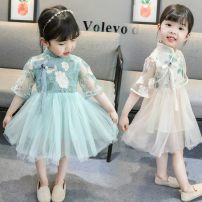 Dress Summer 2020 Green, apricot 80cm,90cm,100cm,110cm,120cm,130cm Middle-skirt singleton  Short sleeve commute stand collar middle-waisted Broken flowers Socket Princess Dress routine Others Under 17 Type A Other / other ethnic style CCAD2020 81% (inclusive) - 90% (inclusive) other