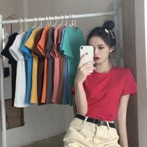 T-shirt M L XL XXL Summer 2020 Short sleeve Crew neck Self cultivation Regular routine commute polyester fiber 86% (inclusive) -95% (inclusive) 18-24 years old Korean version youth Solid color Butterfly fantasy Polyester 95% polyurethane elastic fiber (spandex) 5% Pure e-commerce (online only)