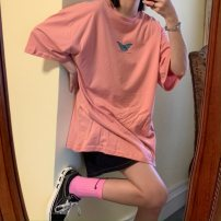 Women's large Summer 2020 Pink white blue M L XL XXL T-shirt singleton  commute easy Socket Short sleeve Animal design letters Korean version Crew neck Medium length polyester fiber routine 2020DHY657 Butterfly fantasy 18-24 years old 91% (inclusive) - 95% (inclusive) Pure e-commerce (online only)