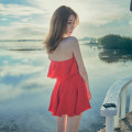 one piece  Han Keren S,M,L,XL White, black, red, waterproof bag for mobile phone Skirt one piece With chest pad without steel support Spandex, polyester, others HK1901 female Short sleeve Casual swimsuit Solid color Pleating