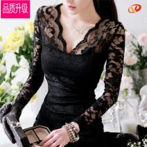 Dress Autumn of 2019 Black long sleeve, black short sleeve, black long sleeve plush S,M,L,XL,2XL Short skirt singleton  Nine point sleeve commute One word collar High waist Solid color zipper Pencil skirt pagoda sleeve Others 18-24 years old Other / other Korean version Embroidered yarn, zipper Lace