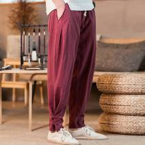 Casual pants Others Youth fashion S,M,L,XL,2XL thin trousers Other leisure easy No bullet R03 Four seasons youth Chinese style 2020 middle-waisted Little feet Haren pants Button decoration washing Solid color other hemp Cotton and hemp Domestic non famous brands Less than 30%