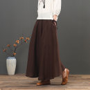 """skirt Summer 2021 One size elastic waist 1.8-2.4 """"waist Coffee / June grass mq3283, black / June grass mq3283, green / June grass mq3283, Navy Blue / June grass mq3283 longuette Retro High waist A-line skirt Solid color Type A 30-34 years old 4.7LYC3283 More than 95% other Elu  hemp"""