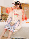 Nightdress Hodo / red bean 155(S),160(M),165(L),170(XL),175(XXL) Sweet Short sleeve pajamas Middle-skirt summer Cartoon animation youth Crew neck cotton printing More than 95% pure cotton 200g and below