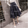 skirt Autumn 2020 S,M,L,XL,2XL Black, apricot, navy commute High waist A-line skirt Solid color Type A 18-24 years old Other / other Pocket, button Korean version