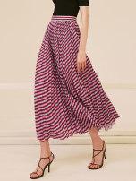 skirt Summer 2020 XS S M L Blue bar Mid length dress commute High waist Pleated skirt stripe Type A 25-29 years old WKKX17070 RoseLingLing Retro