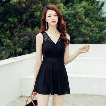 one piece  DUDU&MUMU black Skirt one piece With chest pad without steel support Spandex polyester others Autumn of 2019 female Sleeveless