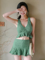 Split swimsuit DUDU&MUMU green Female m (recommended 80-100kg) female L (recommended 100-112kg) female XL (recommended 112-125kg) Skirt split swimsuit With chest pad without steel support Spandex polyester others N1226 Winter 2020 Sleeveless