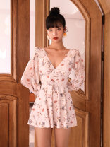 one piece  VICKI·VICKI Female m (recommended 80-100kg) female L (recommended 100-112kg) female XL (recommended 112-125kg) Rice flower Skirt one piece With chest pad without steel support Spandex polyester others Winter 2020 female Long sleeves Casual swimsuit