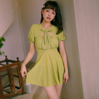 one piece  VICKI·VICKI Female m (recommended 80-100kg) female L (recommended 100-112kg) female XL (recommended 112-125kg) Fruit green Skirt one piece With chest pad without steel support Spandex polyester others Winter of 2019 female Short sleeve