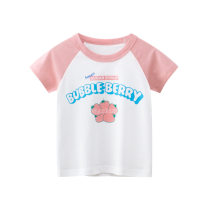 T-shirt Ht9321m white / Pink Other / other 90cm,100cm,110cm,120cm,130cm,140cm female summer Short sleeve Crew neck Korean version No model cotton other HT9321 Class A 8 years old Chinese Mainland
