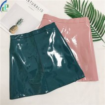 skirt Winter 2020 S,M,L,XL,2XL Pink, black, dark green, lake blue, haze blue, beige, ordinary black, collection plus purchase priority delivery Short skirt High waist A-line skirt 54FD41070 Other / other Zipper, solid