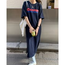 Dress Summer 2021 White, Navy Average size longuette singleton  Short sleeve commute Crew neck High waist letter Socket A-line skirt routine Others 18-24 years old Type A Korean version K 81% (inclusive) - 90% (inclusive) other