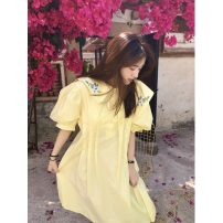 Dress Summer 2021 Light yellow, white Average size Short skirt singleton  Short sleeve commute Admiral High waist Solid color Socket A-line skirt routine Others 18-24 years old Type A Korean version Z 81% (inclusive) - 90% (inclusive)