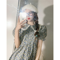 Dress Spring 2021 green One size fits all dress longuette singleton  Short sleeve commute Doll Collar High waist Broken flowers puff sleeve 18-24 years old Korean version Lace T 91% (inclusive) - 95% (inclusive)