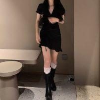 Dress Spring 2021 black Average size Short skirt singleton  Short sleeve commute V-neck High waist Solid color Socket Irregular skirt routine 18-24 years old Type A Korean version Q 81% (inclusive) - 90% (inclusive)